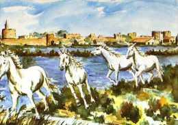 J SUAIN  En Camargue Chevaux Sauvages,Aigues Mortes - Altre Illustrazioni