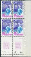 France -1980  Coin Daté 23/7/80 -2 F.50 Violet, Bleu Et Lilas-rose - Abbaye De Solesmes Y&T N°2112 **Neuf Luxe 1er Choix - 1980-1989