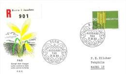 """Schweiz 1963: Zu 398 Mi 771 """"Anti-Hunger"""" Auf R-Brief Mit ET-o 21.III.63 (mit Zusatzmarke Hinten) - Agriculture"""