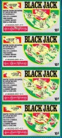 4 BLACK JACK ATTACHES TICKET DE GRATTAGE PARFAIT LOTERIE FDJ FRANCAISE DES JEUX 610020024503-012 A 015 EMISSION OGT N° 2 - Billets De Loterie