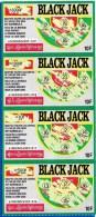 4 BLACK JACK ATTACHES TICKET DE GRATTAGE PARFAIT LOTERIE FDJ FRANCAISE DES JEUX 610020024503-016 A 019 EMISSION OGT N° 2 - Billets De Loterie