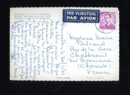 - BELGIQUE AERIEN . AFFRANCHISSEMENT SIMPLE SUR CP DE 1961 POUR LA FRANCE . - Airmail
