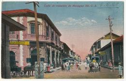 Calle De Comercio De Managua  Cisneros Foto Leon 4 Stamps To France - Nicaragua