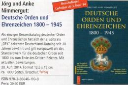 Deutsche Orden Ehrenzeichen 1800-1945 Battenberg Katalog 2014 New 40€ Germany Baden Bayern Danzig Saar Sachsen III.Reich - Tedesco