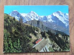 42149 POSTCARD: SWITZERLAND: BE-BERNE: Bergbahn Schynige Platte, 584-2000 M. Eiger - Monch - Jungfrau. - BE Bern