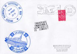 LA LOUVE  LE CONQUET SNSM  SECTION DU CONQUET 29 N TRAVERSEE INAUGURALE LOCMIQUELIC - Postmark Collection (Covers)