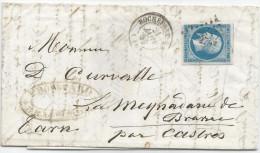 Lettre Entière Rochefort Pour Brassac (Tarn) Par Paris Bureau B  - 21 Janvier 1859 Pc 2703 - Marcophilie (Lettres)