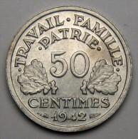 50C Etat Français Lourde 1942, Aluminium - Etat Français (1940 - 1944) - France