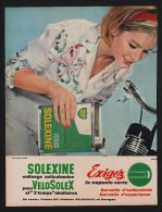 Pub Papier 1964 Bicyclette à Moteur Solex Velosolex Cyclomoteur Solexine - Advertising