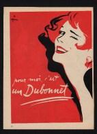 Pub Papier 1954 BOISSON  DUBONNET Vin Alcool Quinquina Aperitif Dessin Gruau Visage Femme - Advertising