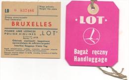 """Ticket/Etiquette De Bagage. """"LOT"""" Polish Airlines. Lot De 2 Pièces. - Titres De Transport"""