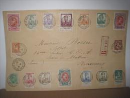 Lettre recommand�e avec collection de timbres multiples dont croix-rouge vers Vincennes  .