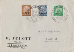 Elsass Brief Mif Minr.1, 2, 3 SST Strassburg 3.9.41 - Besetzungen 1938-45