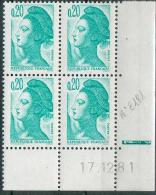 France -1981 - Coin Daté 17/12/81 -20 C. émeraude -Y&T N°2181 ** Neuf Luxe 1er Choix - 1980-1989
