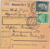 Elsass Paketkarte Mif Minr.796, Elsass Minr.3 Mülhausen 2.12.41 - Besetzungen 1938-45