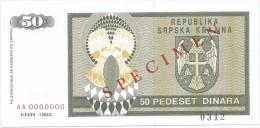 Croatia Knin Krajina 50 Dinara 1992. UNC SPECIMEN  P-R2 - Croatie