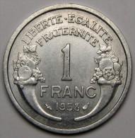 1F Morlon 1958, Aluminium - IV° République (1946 - 1958) - H. 1 Franc