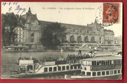 FAU-03 La Nouvelle Gare D´Orléans, Actuellement Musée D'Orsay, Bâteau Mouche Pygmalion. Cachet Frontal 1908 - Arrondissement: 13