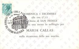BICENTENARIO TEATRO ALLA SCALA MILANO 1778 / 1978 - CARTOLINA PER MESSA IN SUFFRAGIO DI MARIA CALLAS - 03-12-1978 - Teatro