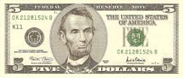 "U.S.A. 5 DOLLARS 2001 PICK 510 LETTER ""K"" UNC"
