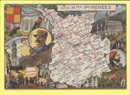 CPA   65 Htes PYRENEES  CARTE GEOGRAPHIQUE ILLUSTRATIONS - Cartes Géographiques