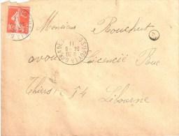 3151 Sainte FOY LA GRANDE Gironde Semeuse 10c Rouge Yv 138 Timbre De Carnet Marque De Boîte Rurale A 2 Ob 24 6 1911 - Storia Postale
