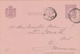 Briefkaart 9 Jan 1896 Amsterdam (proefstempel Dubbelring) Naar Wormerveer (kleinrond) - Postal History