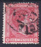 ESPAÑA  1875 ALFONSO XII Nº EDIFIL 166. 25 CENTIMOS ROSA  USADO.MUY BONITO.SES510 - 1875-1882 Reino: Alfonso XII