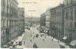 HOTEL ISOTTA E GENEVE, NAPOLI, B/N  ANIMATA , VIAGGIATA  1928, POSTE NAPOLI - ROMA - Napoli