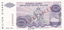 Croatia Knin Krajina 1.000.000 Dinara 1994. UNC SPECIMEN  P - R33 - Croatie
