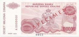 Croatia Knin Krajina 10.000.000 Dinara 1994. UNC SPECIMEN  P - R34 - Croatie