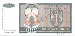 Croatia Knin Krajina 1000 Dinara 1992. UNC SPECIMEN  P - R5 - Croatia