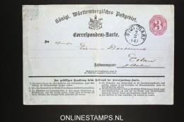 Germany Württemberg   Correspondenz Karte - Wuerttemberg