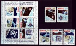 Polen Polska  1979 - MiNr 2659/2663 + Block 80** - Raumfahrt