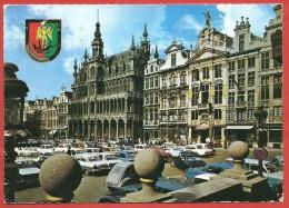 CARTOLINA VG BELGIO - BRUXELLES - Grand Place - 10 X 15 - ANN. TARGHETTA BRUGGE 1969 - TASSATA - Bruxelles (Città)