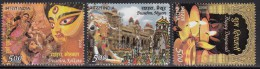 India MNH 2008, Set Of 3, Festivals Series, Mythology Durga On Lion,  Archery, Elephant Processtion Deepavali Lamp - India