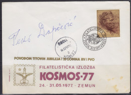 6995. Yugoslavia Cover From 1977. Year Signed By Peko Dapcevic (with Tito Stamp) - Autographs