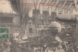 75 PARIS  EXPOSITION INTERNATIONALE DE LOCOMOTION AERIENNE GRAND PALAIS 1909  NEF A GAUCHE AVEC LE DIRIGEABLE ZODIAC - Mostre