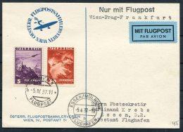 1937 Austria Wien - Prag - Frankfurt Luftpost Essen Muheim Flughafen Postkarte - Airmail