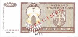 Croatia Knin Krajina 50.000 Dinara 1993. UNC SPECIMEN  P - R8 - Croatie
