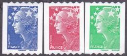 France Marianne De Beaujard Autoadhésif N°  219 - 220 - 221 ** Ou 4239 A à 4241 A - Les 3 Timbres De Roulette - 2008-13 Marianne Of Beaujard