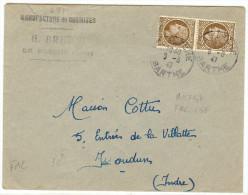 LGM FRANCE - MAZELIN 2f50x2 SUR LETTRE LA FLECHE / ISSOUDUN 6/8/1947 TARIF FACTURE DU 8/7/1947 - 1945-47 Cérès De Mazelin