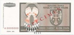 Croatia Knin Krajina 20.000.000 Dinara 1993. UNC SPECIMEN  P - R13 - Croatie