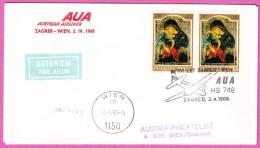 YOUGOSLAVIE YUGOSLAVIA JUGOSLAWIEN 1969 - AUA Zagreb Wien Vienne Vienna - 1945-1992 République Fédérative Populaire De Yougoslavie