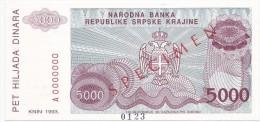Croatia Knin Krajina 5000 Dinara 1993. UNC SPECIMEN  P - R20 - Croatia