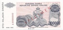 Croatia Knin Krajina 100.000 Dinara 1993. UNC SPECIMEN  P - R22 - Croatia