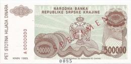 Croatia Knin Krajina 500.000 Dinara 1993. UNC SPECIMEN  P - R23 - Croatia