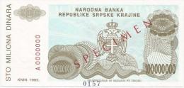Croatia Knin Krajina 100.000.000 Dinara 1993. UNC SPECIMEN  P - R25 - Croatia