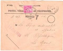 3230 VAULX En VELIN Rhône Recouvrement Yv 369 1F Paix Lilas Taxe Enveloppe Entière N° 819 Ob 16 7 1936 - Brieven En Documenten