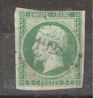 Empire N° 12 B , 5 C VERT FONCE Obl Pc 1928 De MAULEON BAROUSSE, Hautes Pyrénées, IND 9, B/TB Cote 200 Euros - 1853-1860 Napoleon III